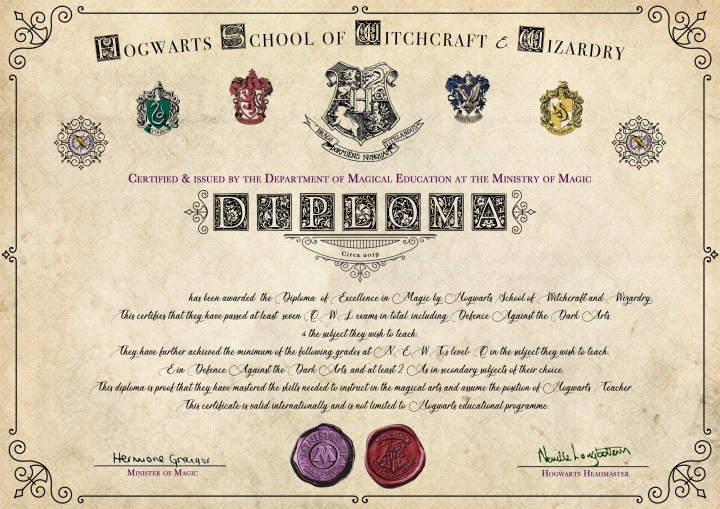Hogwarts teacher diploma
